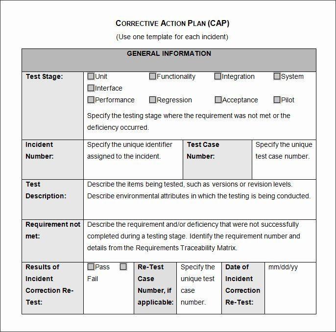 Corrective Action Plan Template Word Corrective Action Plan Template Inspirational Corrective