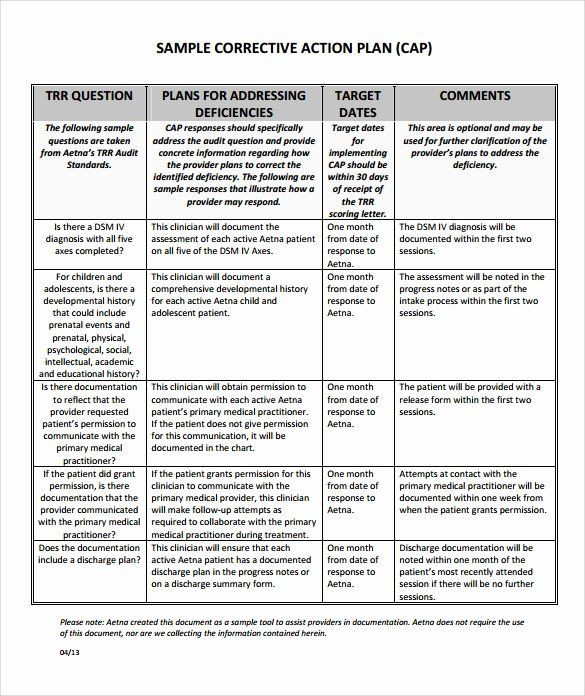 Corrective Action Plan Template Word Corrective Action Plan Template Word Elegant Sample
