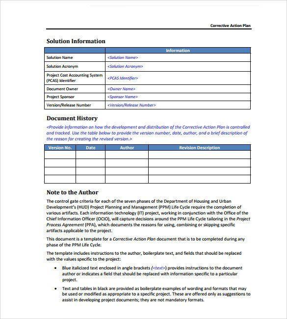 Corrective Action Plan Template Word Corrective Action Plan Template Word Sample Corrective