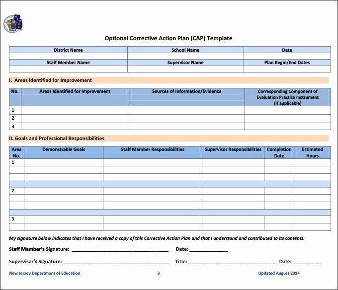 Corrective Action Plan Template Word Employee Corrective Action Plan Template Beautiful Beaufiful