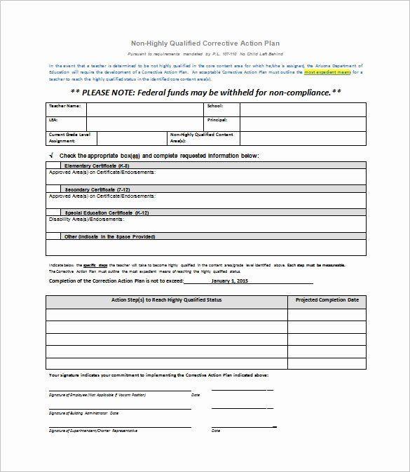 Corrective Action Plan Template Word Employee Corrective Action Plan Template Luxury Corrective