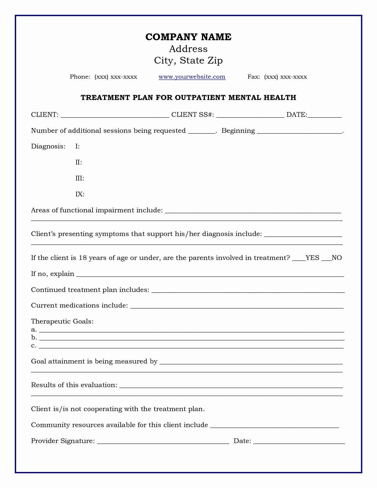 Counseling Treatment Plan Template Pdf Pin On Letter formats