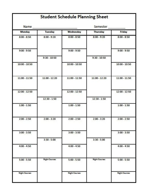 Course Schedule Planner Template College organizer Planner – Free Printable Links