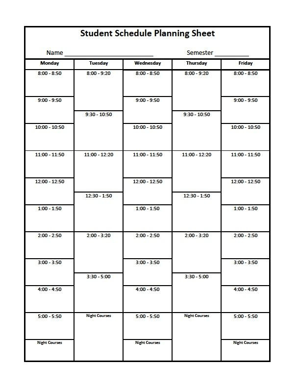 Course Schedule Planner Template Pin On College