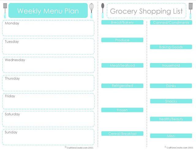 Create A Meal Plan Template Craft Sew Create Printable Menu Plan Shopping List