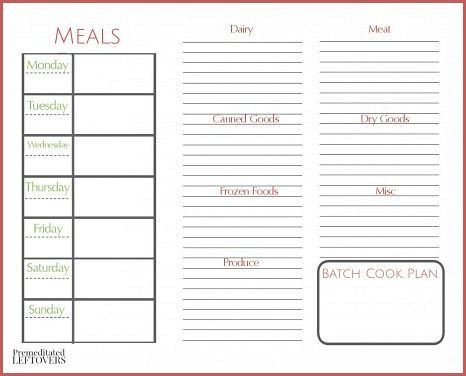 Create A Meal Plan Template How to Create A Meal Plan with Batch Cooking