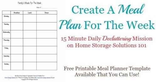 Create A Meal Plan Template Printable Weekly Meal Planner Template