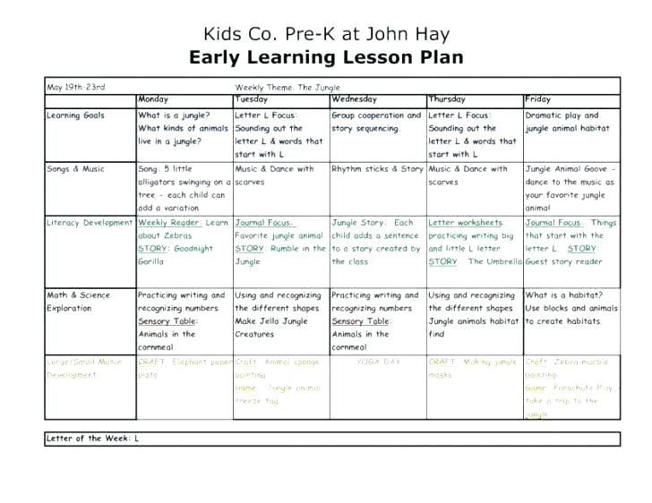 Creative Curriculum Lesson Plan Template Pin On Schedule