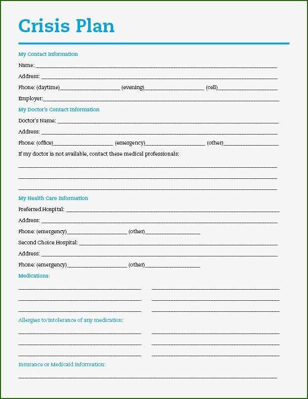 Crisis Plan Template Mental Health Pin On Template Ideas