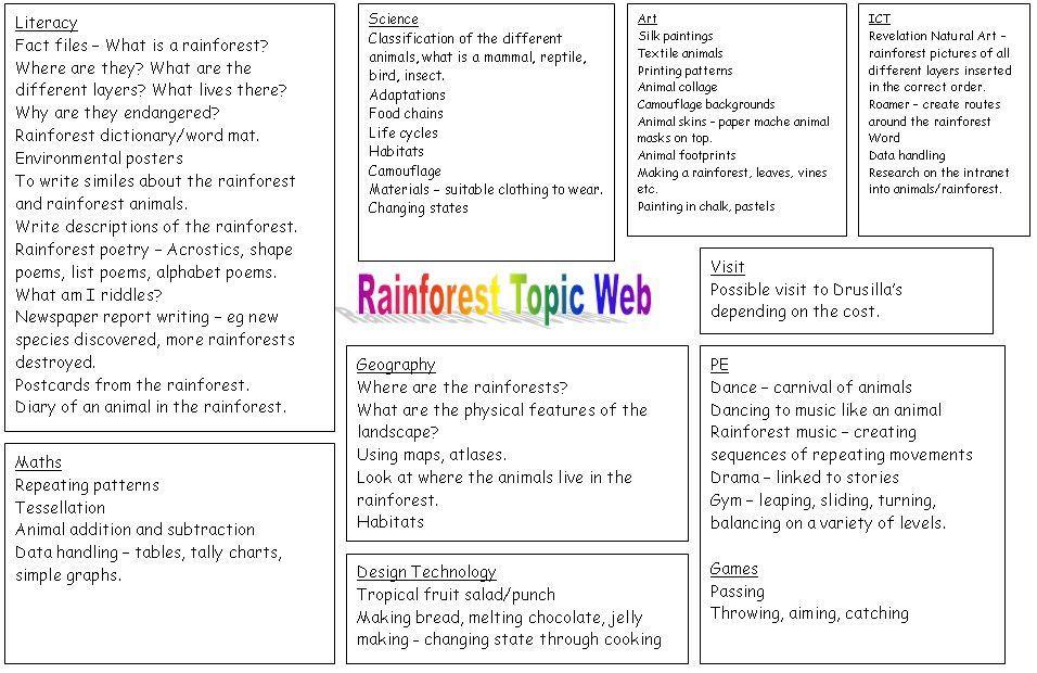 Cross Curricular Lesson Plan Template Rainforest Planning Web A Useful Cross Curricular
