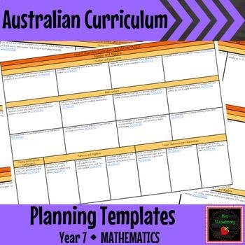 Curriculum Planner Template Year 7 Mathematics Australian Curriculum Planning Templates
