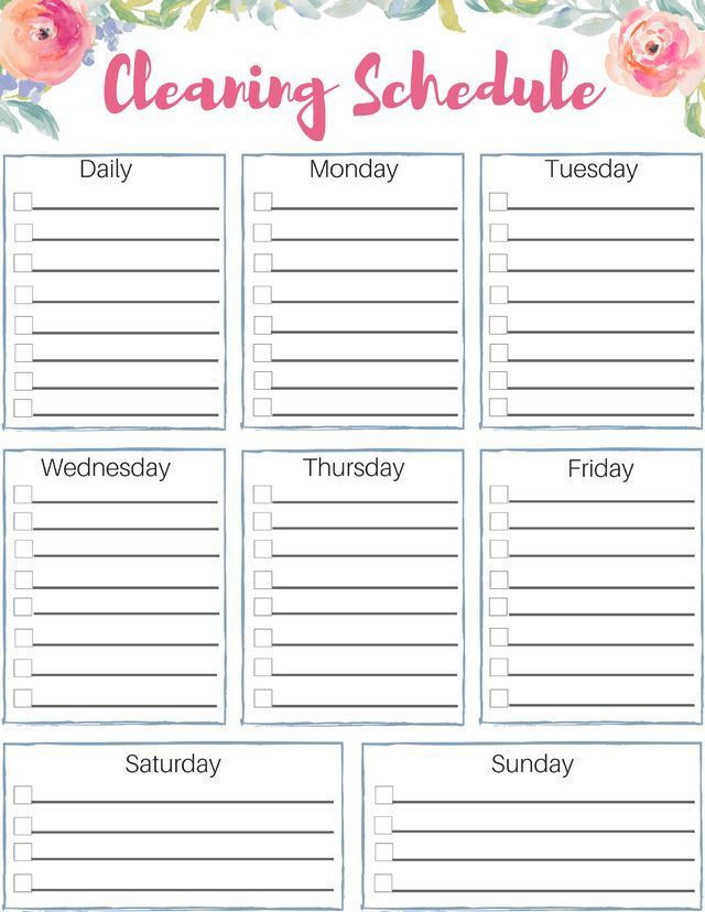 Custom Day Planner Template Free Customizable Cleaning Schedule Check Out This Great