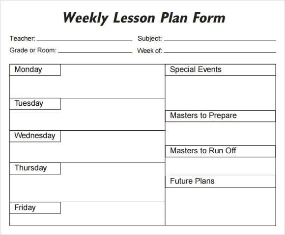 Daily 5 Lesson Plan Template 5 Free Lesson Plan Templates Excel Pdf formats