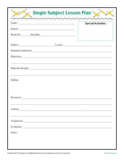 Daily Lesson Plan Template Daily Single Subject Lesson Plan Template Elementary