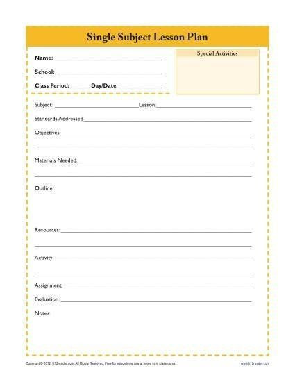Daily Lesson Plan Template Doc Daily Lesson Plan Template Doc Awesome E Subject Lesson