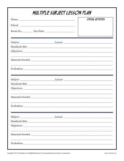Daily Lesson Plan Template Doc Daily Lesson Plan Template Doc Best Daily Multi Subject
