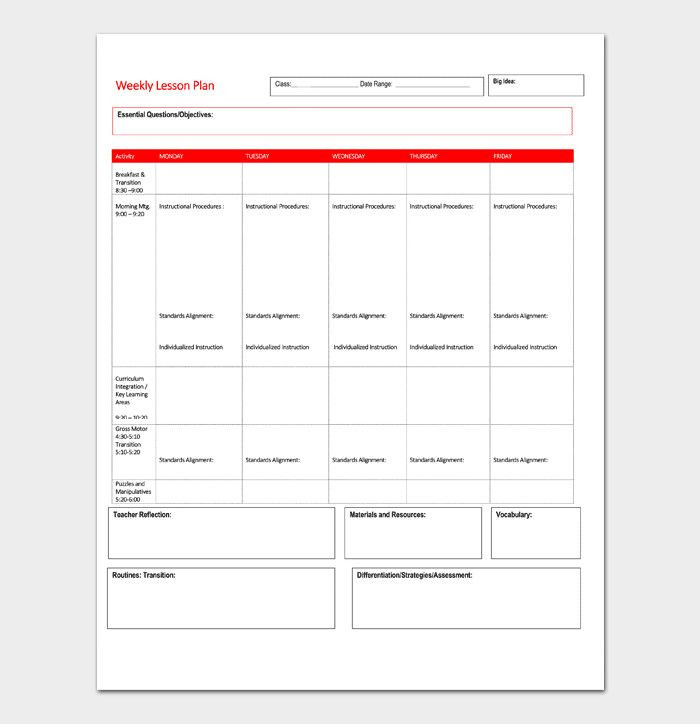 Daily Lesson Plan Template Doc Daily Lesson Plan Template Word Unique Lesson Plan Template
