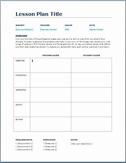Daily Lesson Plan Template Doc Mon Core Lesson Plan Template Doc Lovely Teacher Daily