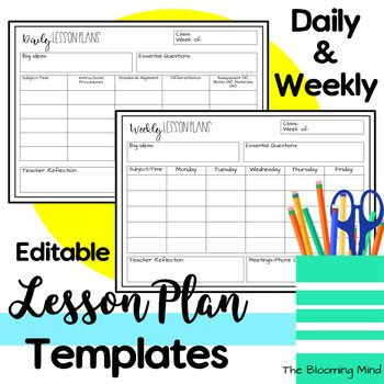 Daily Lesson Plan Template Elementary Free Lesson Plan Template
