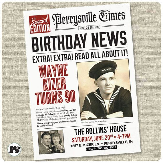 Daily Planet Newspaper Template Free Newspaper Style Birthday Invitation Card Printable