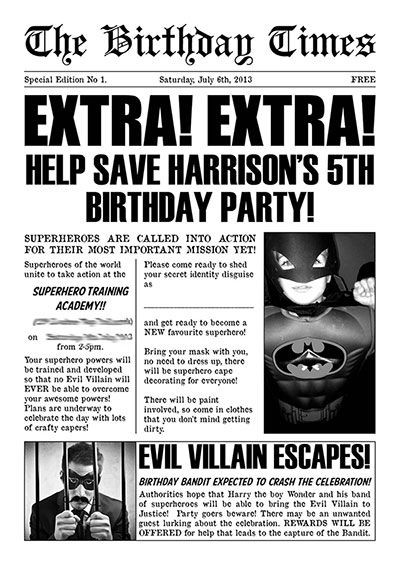 Daily Planet Newspaper Template Free Pin by Lala Jo On Super Hero Party Ideas