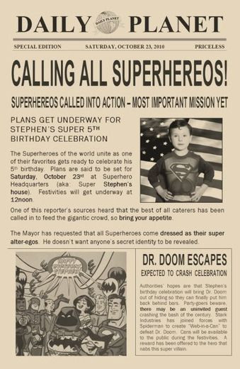 Daily Planet Newspaper Template Free Pin On Kids Parties
