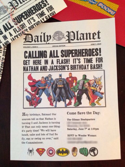Daily Planet Newspaper Template Free Superhero Birthday Party Invitations I Made Using Word I