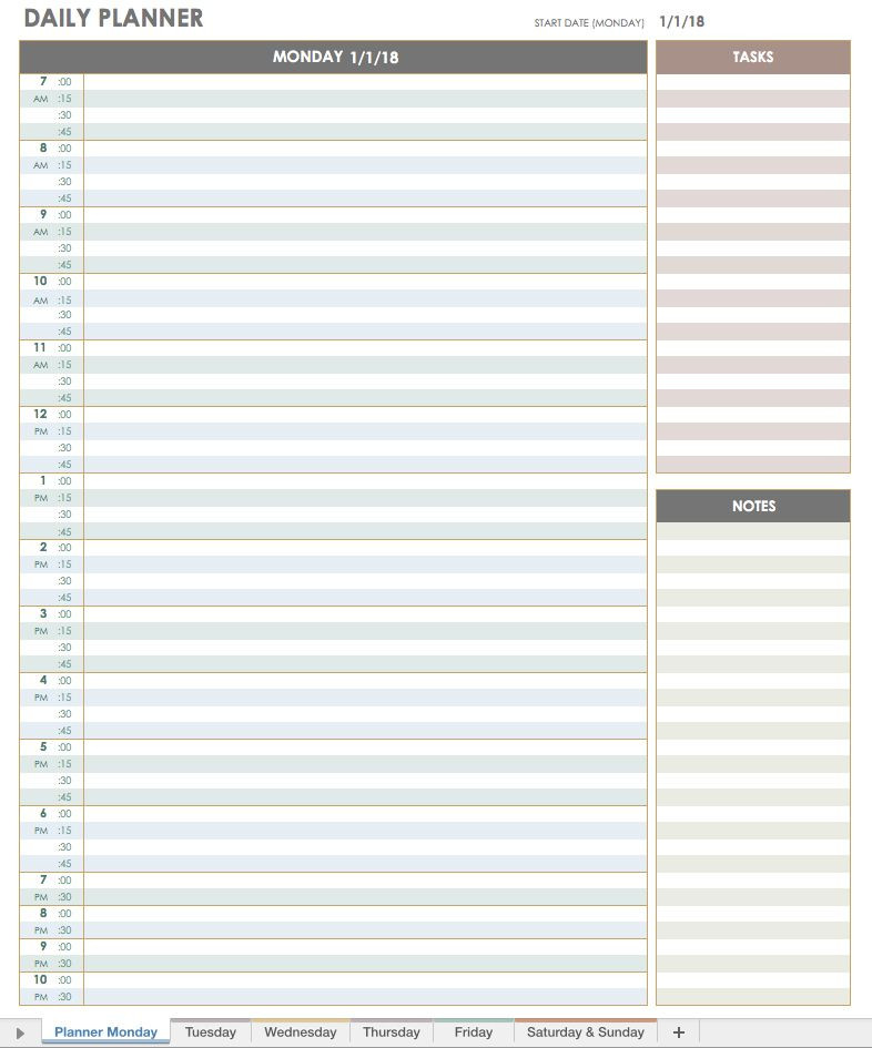 Daily Planner Template Excel 2018 Daily Planner Template