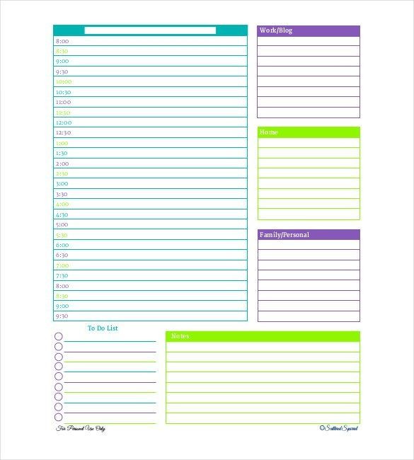 Daily Planner Template Excel Daily Planner Template 28 Free Word Excel Pdf Document