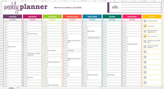 Daily Planner Template Excel Weekly Planner Printable Excel Planner Template Weekly
