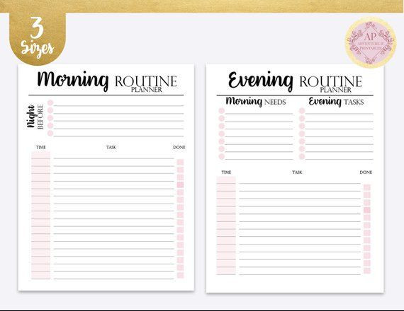 Daily Work Planner Template Daily Rituals Kit Morning and evening Routine Night Ritual