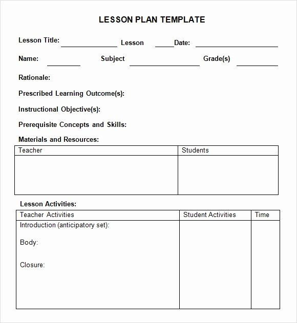 Danielson Lesson Plan Template Doc Free Lesson Plan Template Elementary Luxury Free 7 Sample