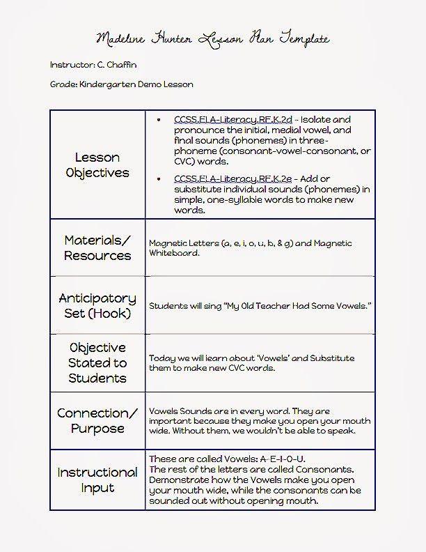 Danielson Lesson Plan Template Doc Sample Madeline Hunter Lesson Plan Inspirational Mon Core