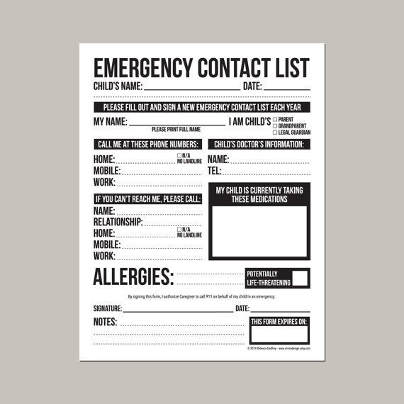 Daycare Emergency Preparedness Plan Template Emergency Contact form for Nanny Babysitter or Daycare