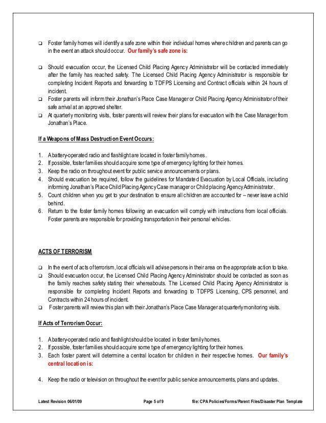Daycare Emergency Preparedness Plan Template Family Emergency Plan Template Disaster Emergency Plan