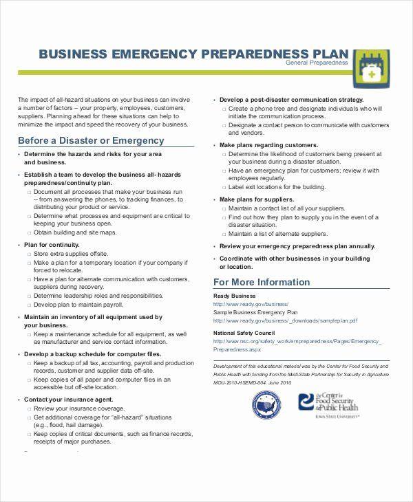 Daycare Emergency Preparedness Plan Template Flood Emergency Response Plan Template Beautiful 29