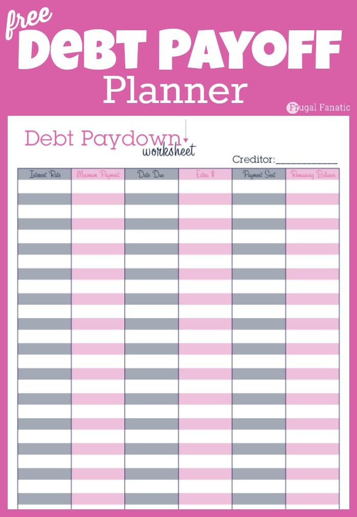 Debt Payment Plan Template Debt Payoff Planner Free Printable