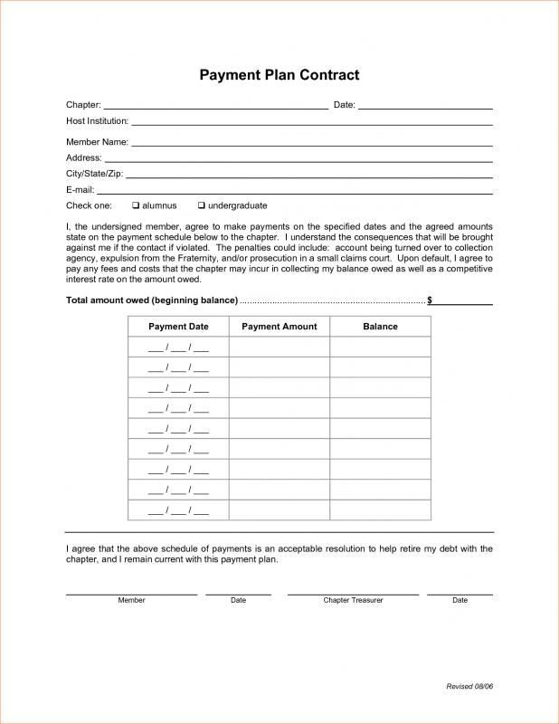 Debt Payment Plan Template Payment Plan Agreement Template