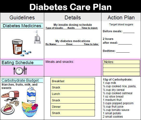 Diabetes Meal Planner Template Diabetes Care Plan