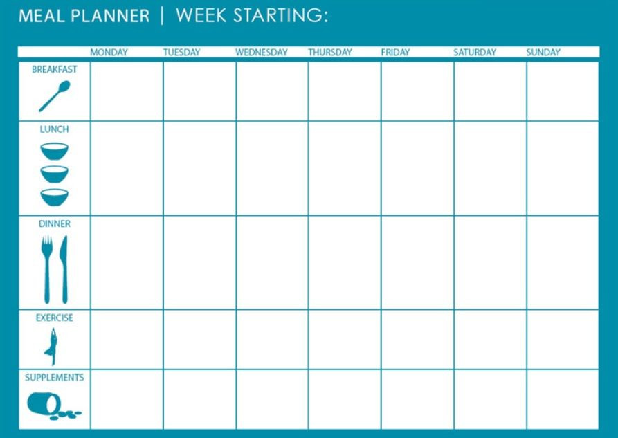 Diet Planner Template Diet and Exercise Calendar Planner