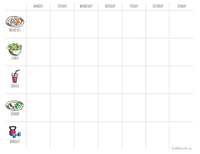 Diet Planner Template Menu Exercise Planner Free Printable
