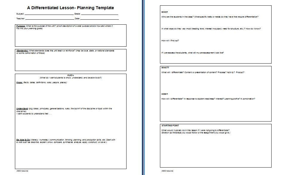 Differentiated Instruction Lesson Plan Template Lesson Plan Template