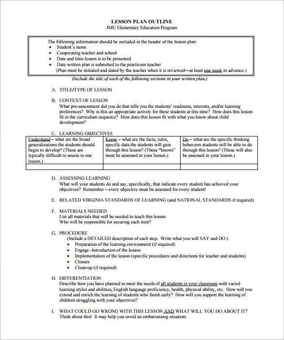 Differentiated Instruction Lesson Plan Template Sample Lesson Plan Outline