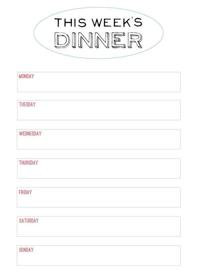Dinner Meal Planner Template Family Style Dinner – Printable Menu