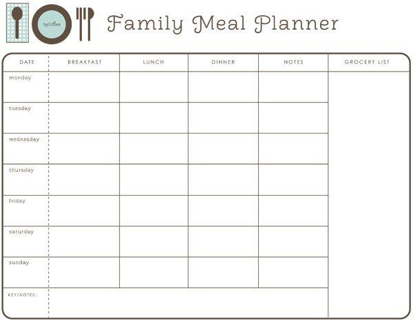 Dinner Meal Planner Template Printable Meal Planner Hellobee