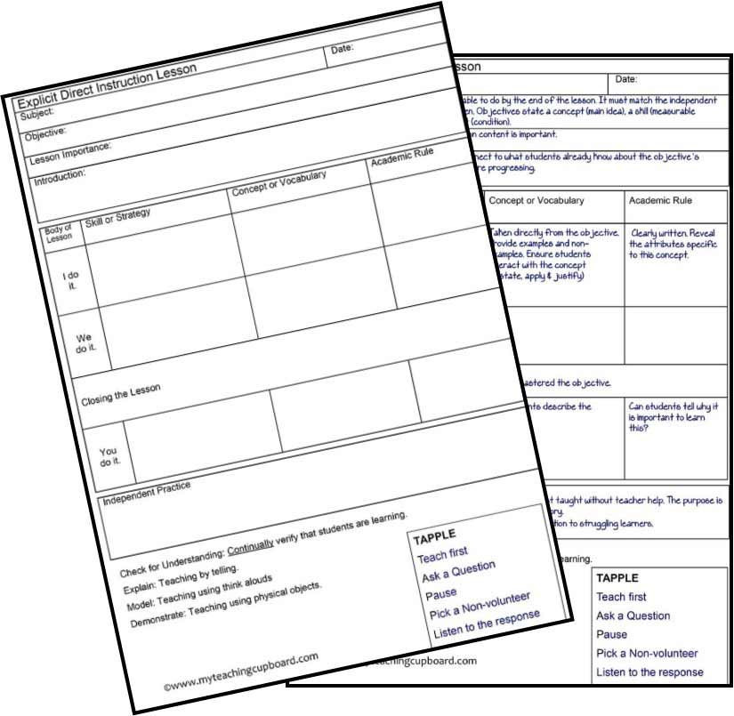 Direct Instruction Lesson Plan Template Pin On Early Childhood Education
