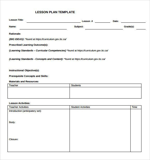 Download Lesson Plan Template Blank Lesson Plan Template Check More at S