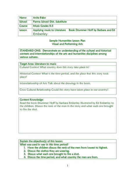 Eats Lesson Plan Template Applying Music to Literature Lesson Plan for 1st 6th Grade