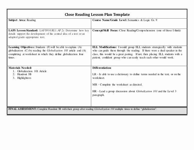 Edi Lesson Plan Template Reading Lesson Plan Template Lovely Lesson Plan Closed