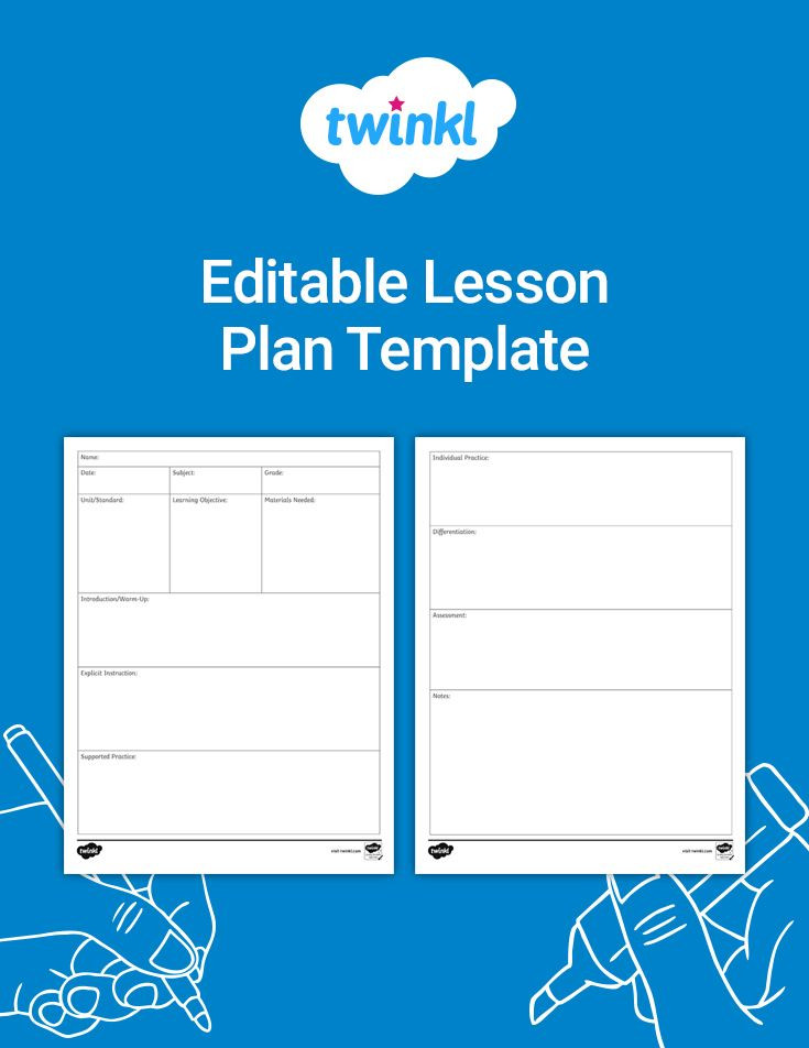 Editable Lesson Plan Template Free Editable Lesson Plan Template